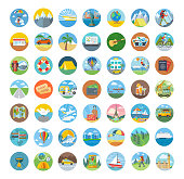 Set of travel icon flat design. Transportation icons, travel icon and map icon, icon tourism, compass and globe, vacation summer, beach and car icon, holiday vector illustration