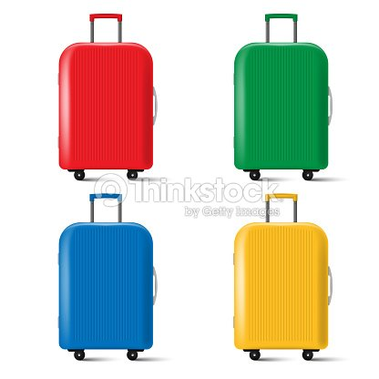 Set of travel suitcase with wheels isolated on white background. Vector illustration. : stock vector