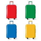 Set of travel suitcase with wheels isolated on white background. Vector illustration. Eps 10.