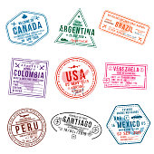 Set of travel visa stamps for passports. International and immigration office stamps. Arrival and departure visa stamps to American countries - USA, Canada, Brazil, Mexico. Vector