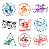 Set of travel visa stamps for passports. International and immigration office stamps. Arrival and departure visa stamps to Asian countries - China, India, Indonesia, Turkey. Vector