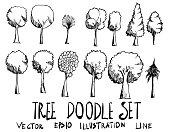 Set of Tree illustration Hand drawn doodle Sketch line vector