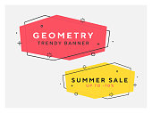 Set of trendy flat geometric vector banners. Vivid transparent banners in retro poster design style. Vintage colors and shapes. Red and yellow colors. 90s or 80s trendy style.