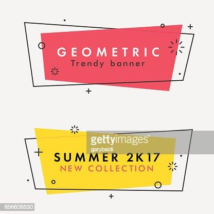 Set of trendy flat geometric vector banners. : Arte vettoriale