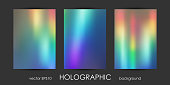 Set of Trendy Holographic Backgrounds for Cover, Flyer, Brochure, Poster, Wedding Invitation, Wallpaper, Backdrop, Business Design. Abstract Template for Social Media Design.