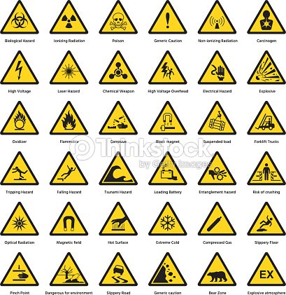 Set Of Triangle Yellow Warning Sign Hazard Dander Attention Symbols