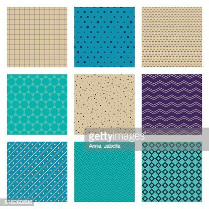 Set of Turquoise Blue Beige Ornaments. 9 seamless vector patterns. : Vector Art