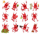 Vector set of twelve cartoon images of funny red devils with horns and tails with different actions and emotions on white background. Demon, positive character,business, Halloween. Vector illustration