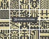 Set of twenty gothic gold color geometric patterns abstract retro art deco background. vector illustration eps 10 for web design, textile, screen, card, printing, design template
