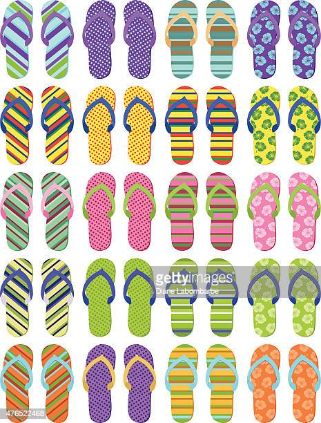 Set of Twenty Pair of Summer Flip Flops Multiple Designs