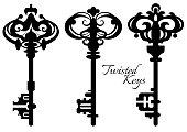 Set of twisted ancient old keys. Vector illustration.