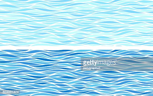 Set of two seamless patterns with blue waves : stock vector