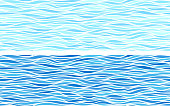 Set of two seamless patterns with blue waves. Eps8. RGB. Global colors