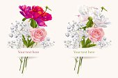 Vintage set of two summer flowers bouquets for Valentine's Day, wedding, sales and other events painted in watercolor style