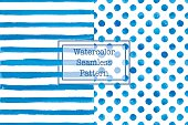 Set of two watercolor seamless patterns, blue color. Stripes and polka dot pattern. Watercolor seamless pattern for any your design project or for print on any item.