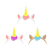 Set of unicorn headbands with hair, ears and horn, isolated on white background, illustration.