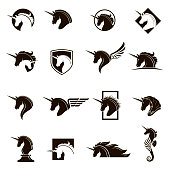 monochrome collection of unicorn heads with different manes