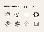 Set of universal minimal geometric icon. Simple vector sign will give a recognizable accent to your startup