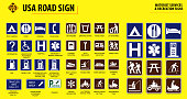 set of USA road sign.(MOTORIST SERVICES & RECREATION SIGNS). easy to modify