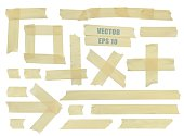 Set of various adhesive tape pieces. Realistic illustration vector.