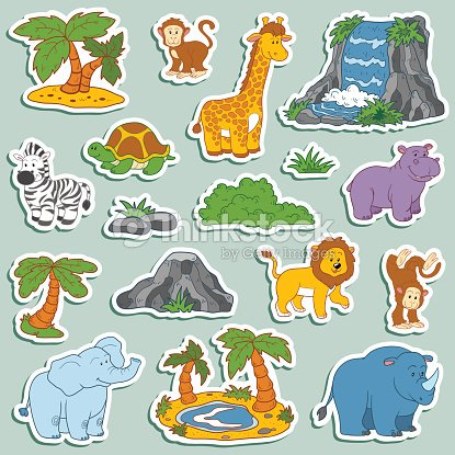 Set of various cute animals, vector stickers of safari animals