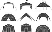 Tents for camping in the nature and for outdoor celebrations. Simple and lovable vector illustrations.