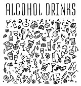 Set of doodles cocktails, hand drawn rough simple sketches of various kinds of cocktails and soft drinks cocktails. Vector freehand cocktails illustration. Hand drawn seamless logo with cocktails.