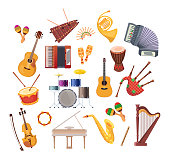 Set various musical instruments: ratchet, tambourine, drums, acoustic and electronic guitars, violin, accordion, trumpet, flute, maracas, grand pianos, drums, bagpipes music tools cartoon flat vector