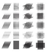 Set of various pencil strokes, halftone, engraving. Vector element for your design