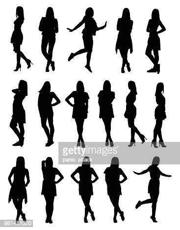 Set of various young fashion woman silhouettes in different clothes and poses : stock vector