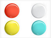 Set of vector 3D design elements, glossy icons, buttons, badge blue, red, yellow and white isolated. Can be used as sales buttons, signs of promotions, special offers, discounts and sales