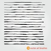 Set of vector art brushes. Style Handmade. Rough texture. Ink paintbrush. Samples are stored in the file palette. A high resolution. For registration of banners, stickers, advertising products.