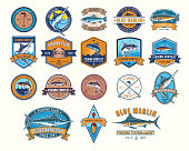 Big set of vector color badges, stickers on catching fish. Emblems for fishing club, tournaments