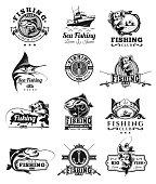 Set of vector badges, stickers on catching fish. Emblems for fishing club, tournaments