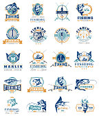 Big set of vector badges, stickers on catching fish. Emblems for fishing club, tournaments