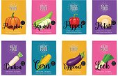 Set of vector banners with vegetables. Healthy food concept for farmers market menu design.
