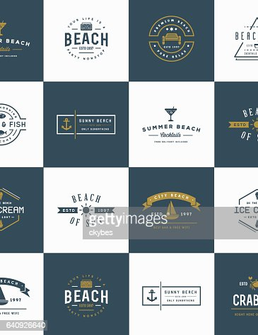 Set of Vector Beach Sea Bar Elements and Summer can be used as Logo or Icon in premium quality : Vector Art