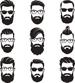 Set of vector bearded men faces hipsters with different haircuts, mustaches, beards. Silhouettes, avatars, heads, emblems, icons labels