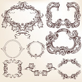 Collection or set of vector filigree drawn antique frames for design