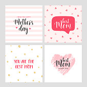 Vector set of square cards for Mother's day. Pink hand drawn heart. Vector illustration. Vector card, badge for Mother's day. Love Mom concept. Happy Mother's day.