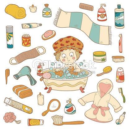 Satz Von Vektorcomic Badezimmer Elemente Und Personliche Hygiene Ite
