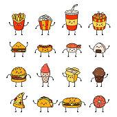 Set of vector cartoon doodle icons junk food. Illustration of comic fast food.