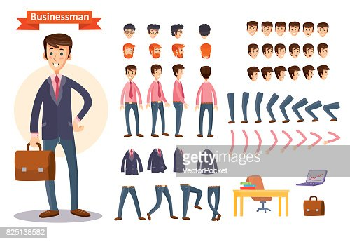 Set of vector cartoon illustrations for creating a character, businessman. : Vector Art