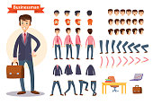 Set of vector cartoon illustrations for creating a character, businessman. Collection of faces, front, side and back view, emotions, hands and feet bent in different positions, clothes and accessories