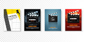 Set of vector cinema posters or flyers. Film festival promotion. Vector illustration