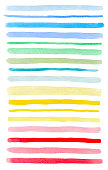 Set of colorful watercolor lines isolated on a white background. Blue, pink, green and yellow vector watercolor blots.