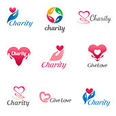 Set of vector design template for charity and care. Icons for the orphanage, elderly care.