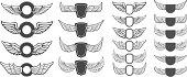 Set of vector emblems with wings. Design elements for label, emblem, sign. Vector illustration.