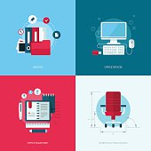 Set of vector flat design concept illustrations of office equipment and devices
