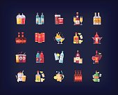 Set of vector flat drinks and beverages icons